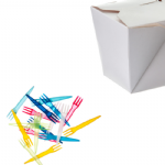 Snack Pack 5 - 500ml waxed box & 74mm snack forks